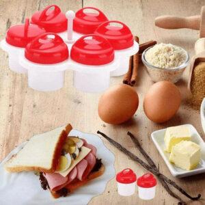 6PCS Egglettes Cooker Pancake Maker Mold Egg Shaper Omelette Nonstick Tool