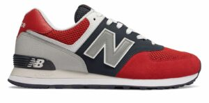 New Balance Men's 574 Pebbled Sport Shoes Red with Navy