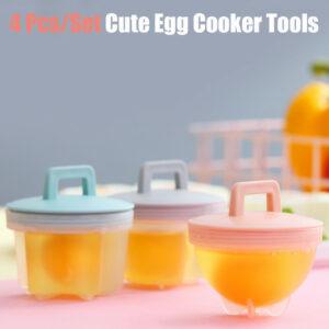 4 Pcs Cute Egg Poacher Plastic Egg Boiler Kitchen Egg Cooker Tools Egg Mold