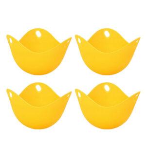 UN3F 4pcs High Temperature Resistant Safe Egg Boiler Egg Holder Makers (Yellow)