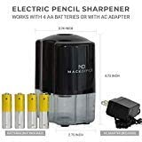 MackOffice, Electric Pencil Sharpener, Heavy Duty, Auto-Stop, Ultra-Portable, Helical Steel Blade, No.2/Colored Pencils (6-8mm) For School, Home, Office, Battery Powered and Plug in (Included) (Black)