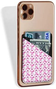 Card Holder For Back Of Phone Breast Cancer Pink Ribbon Sign Beautiful Leather Phone Pocket Phone Case Credit Business Id Card Holder Sleeve Adhesive Stick On Wallet For Back Of Cell Mobile Smart Phon