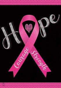 Briarwood Lane Hope, Courage, Strength Garden Flag Breast Cancer Pink Ribbon 12.5″ x 18″