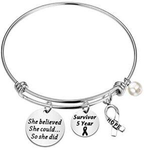 BLEOUK Cancer Awareness Bracelets Cancer Gift Cancer Survivor Gifts for Women Cancer Cancer Fighter Bracelet