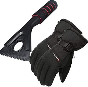 Ice Scraper for Cars and Pick Up Trucks, Waterproof Winter Gloves, Windscreen Frost Snow Scraper for Car Windshield & Windows and Men Women Cycling Running Gloves, Perfect Set for Outdoor Activities