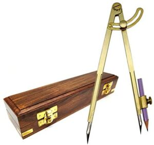 5MoonSun5's 8 Inch Large Pencil Marking Compass Circle Leather Scratch Compass Maker Scriber Marking Wing Divider, Ideal for Drawing Circles, Scribing WoodMetal Stainless Steel tip, with Wooden Box