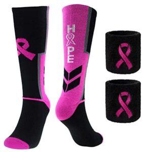 Breast Cancer Awareness Pink Ribbon Hope Socks & Wristbands Set – 1 Pair Athletic Crew Socks + 2 Pcs Wrist Sweatbands (Small)