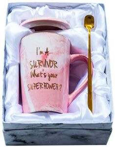 Mugpie Cancer Survivor Gifts for Women – Survivor Gift for Breast Cancer Awareness Chemo Patient Friends Coworker- Cute Christmas Gifts I'm A Survivor, What's Your Superpower Coffee Mug + Gift Box