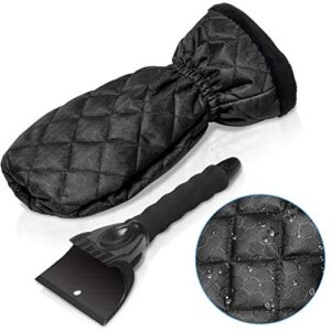 CrazyPiercing Ice Scraper Mitt, Waterproof Ice Scraper with Separable Glove for Vehicle Car Ice Shovel Snow Remover Windshield Window from Scrape Frost and Ice (Black)