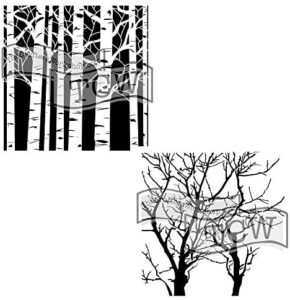 Crafter's Workshop Stencil 2 Pack, Reusable Stenciling Templates for Art Journaling, Mixed Media, and Scrapbooking (Aspen Trees/Reversed Branches, 6 x 6 (2pack))