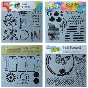 4 Crafters Workshop Mixed Media Stencils | Honeycomb, Texture, Batik, Abstract Theme | for Journaling, Scrapbooking, Arts, Card Making | 6 Inch x 6 Inch Templates Set