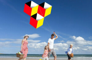 Outdoor Fun Sports For kids 3D magic Cube-Box kite Single Line Good Flying NEW