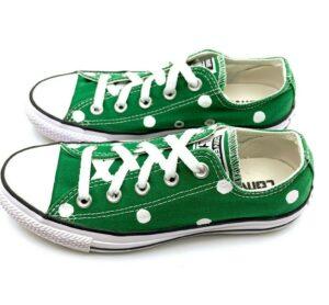 Converse Women's 6 Men's 4 AMAZON GREEN Polka Dot CTAS Shoes 150476F