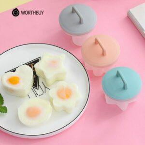 4 Pcs/Set Cute Egg Boiler Plastic Egg Poacher Set Kitchen Egg Cooker Tools Egg