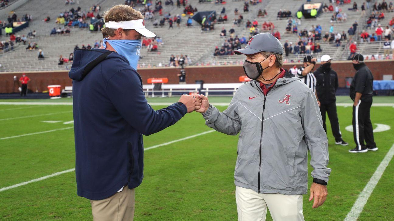 Ole Miss coach Lane Kiffin pokes fun at Nick Saban when asked about Auburn job