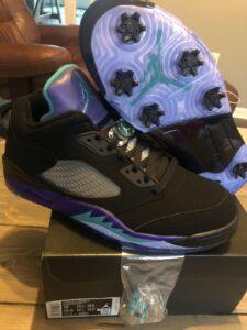 New DS Nike Air Jordan 5 V Low Golf Shoe Black Grape Ice CU4523-001 Size 12 SALE