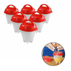6PCS Silicone Hard Boiled Egg Boiler Cups Cooker Poacher Steamer without Shell