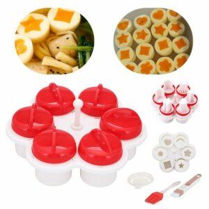 6 Silicone Egg Cooker Poachers Boiler Steamer Eggs Cups Steamer Multi Functional