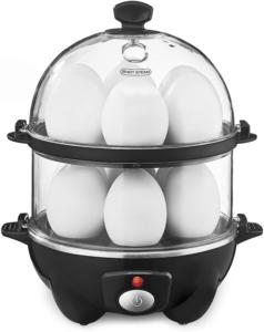 Double Tier Egg Cooker Boiler Rapid Maker Poacher Dishwasher Safe Black