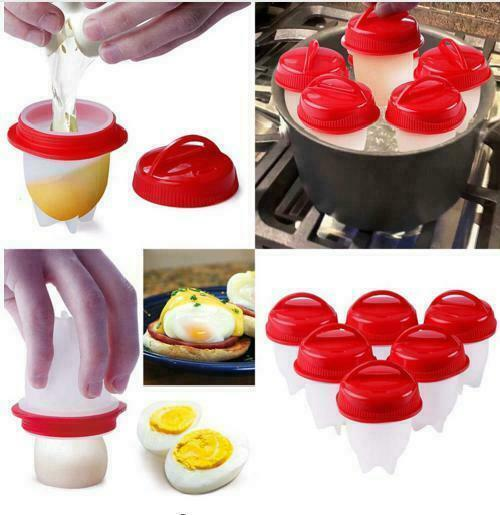6PCS Food grade Silicon Egg Boiler Hard Boiled Egglettes Cooker Kitchen Tool Top